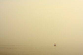 Sea with a boat landscape