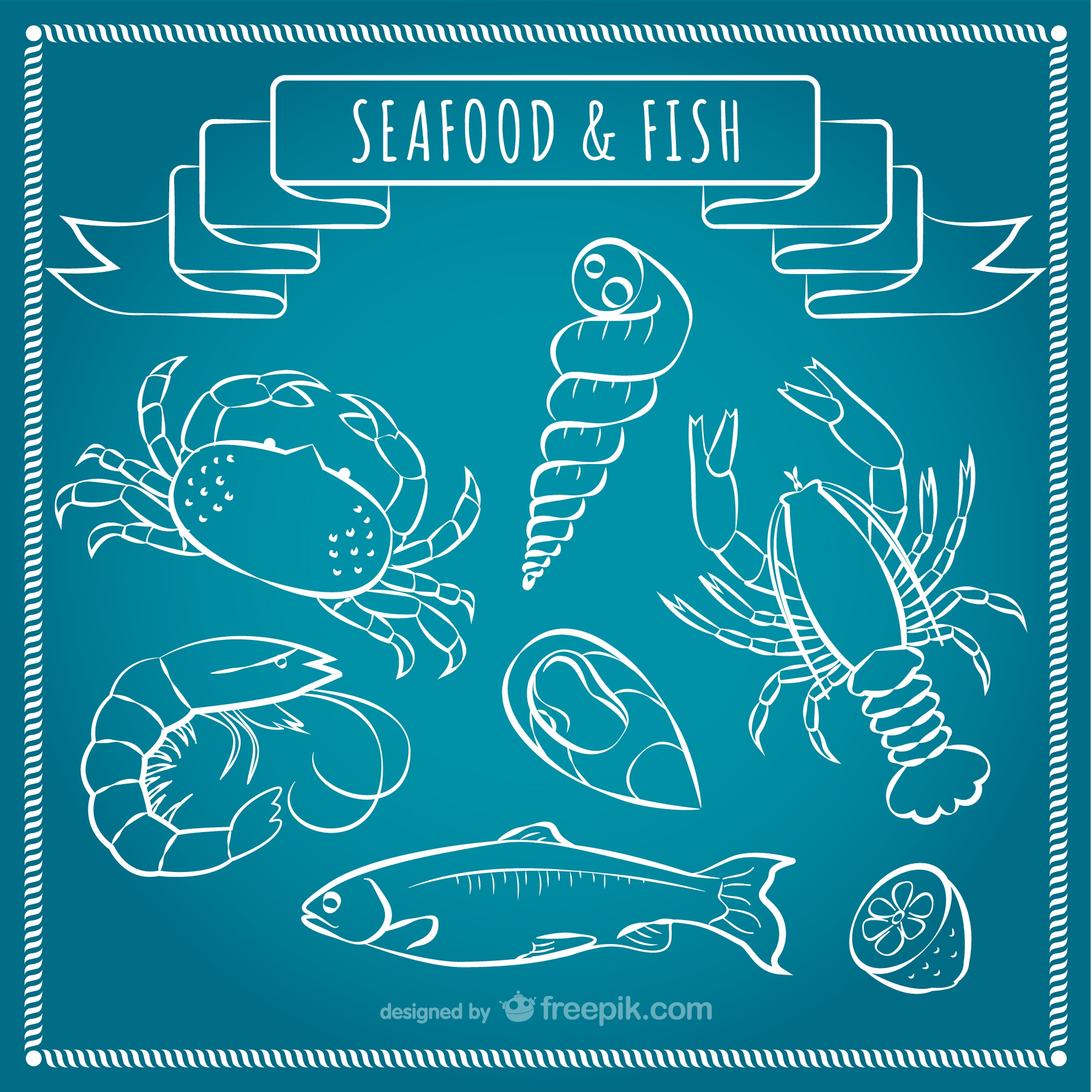 Seafood and fish vector