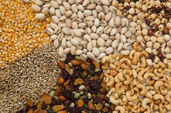 Seeds and nuts background