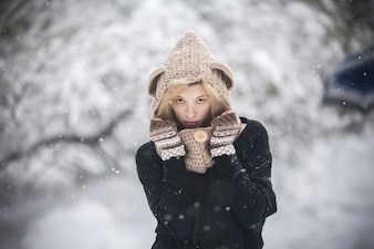 Sensual woman in winter clothes