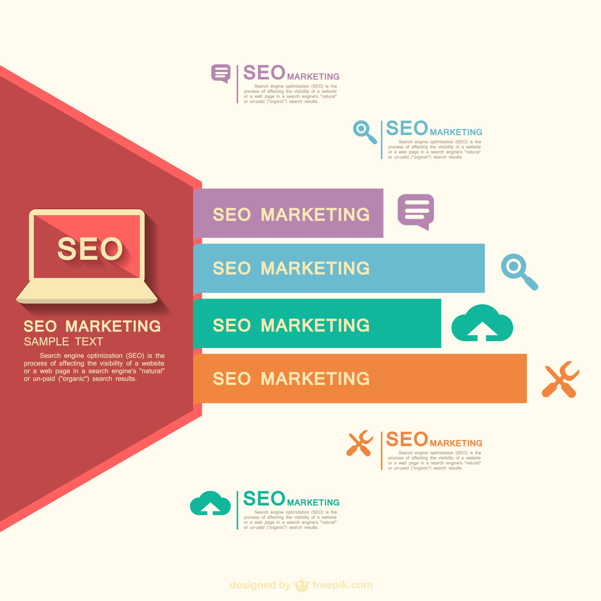 SEO free flat vector layout