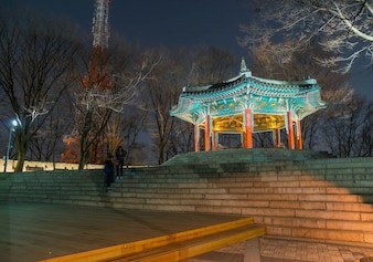 Seoul tower Beautiful Traditional Architectureat ,Namsan Mountain in korea - Boost up color Processing