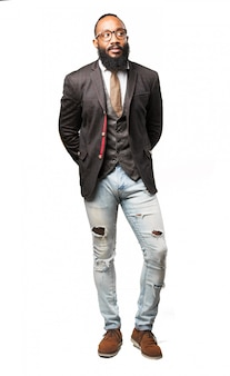 Serious man in suit and jeans