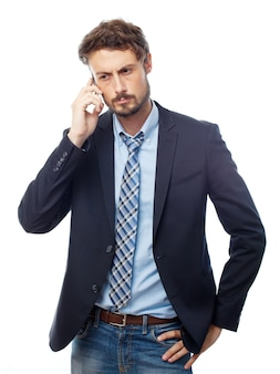 Serious smart man talking on the phone