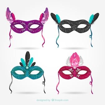 Set of beautiful carnival masks