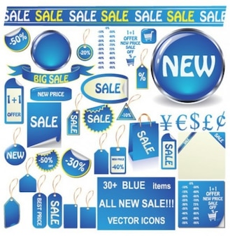 Set of blue assortment sales stickers