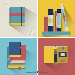 Set of colorful books in flat design