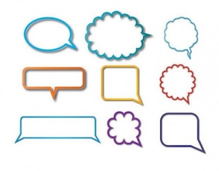 Set of colorful chat clouds