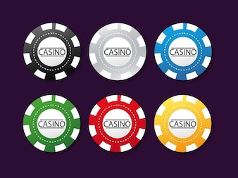 Set of colorful poker chips