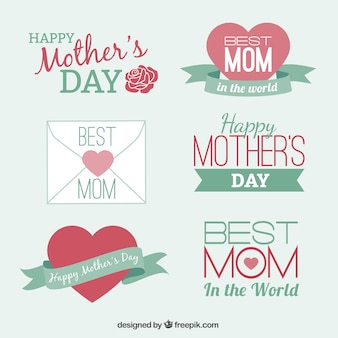 Set of cute design elements badges for Mothers day