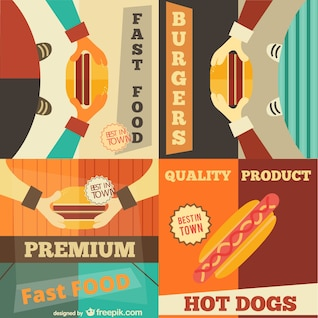 Set of fast food retro advertising posters