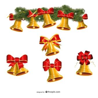 Set of golden Christmas bells vector