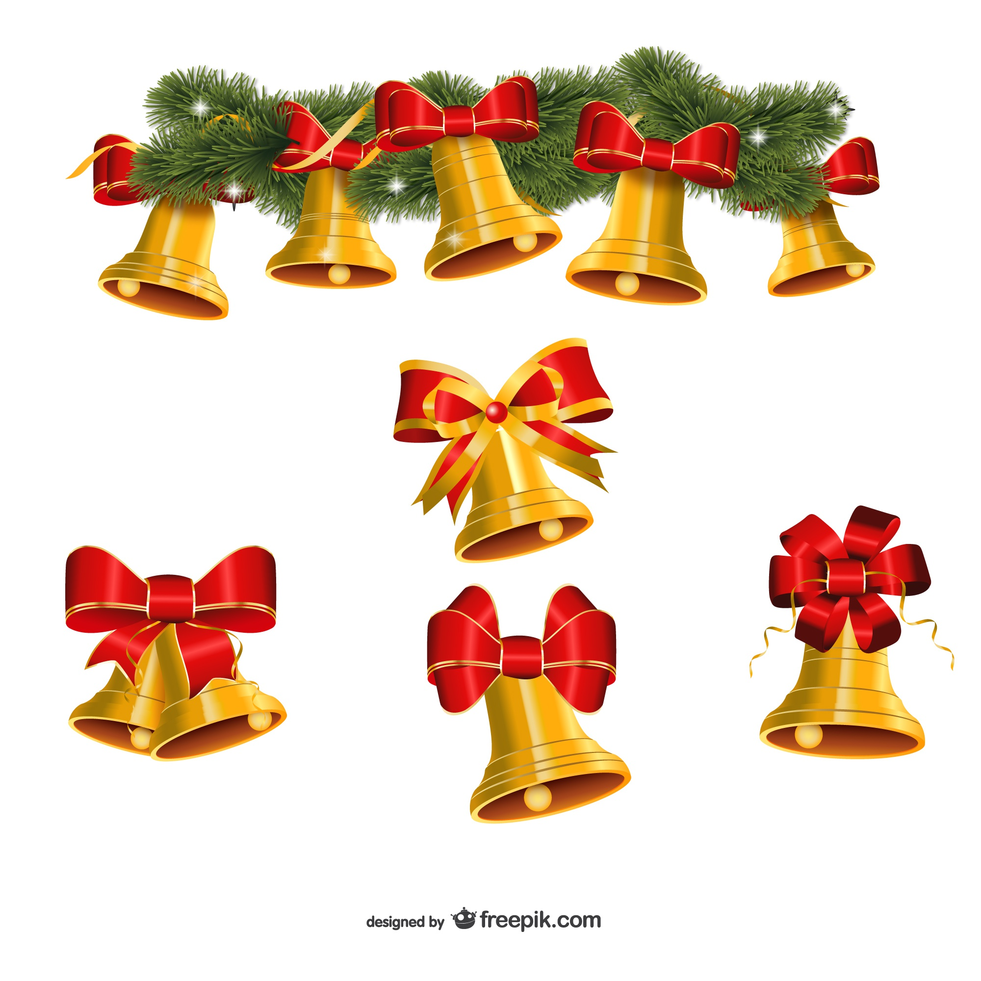 Set of golden Christmas bells vector