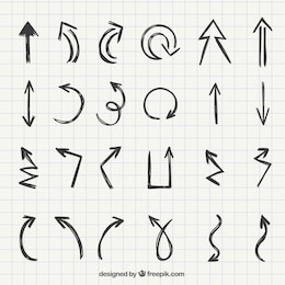 Set of hand drawn arrows