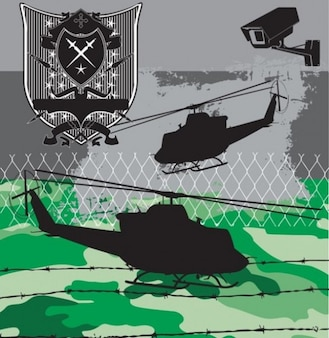 Set of helicopters and emblem