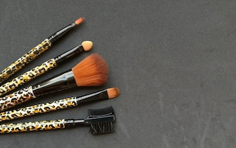 Set of make up brushes with space for text