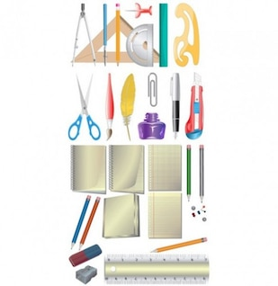 Set of office supplies graphics