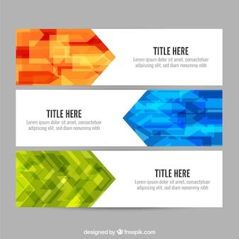 Set of polygonal geometric banners
