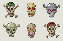 Set of skulls in cartoon style