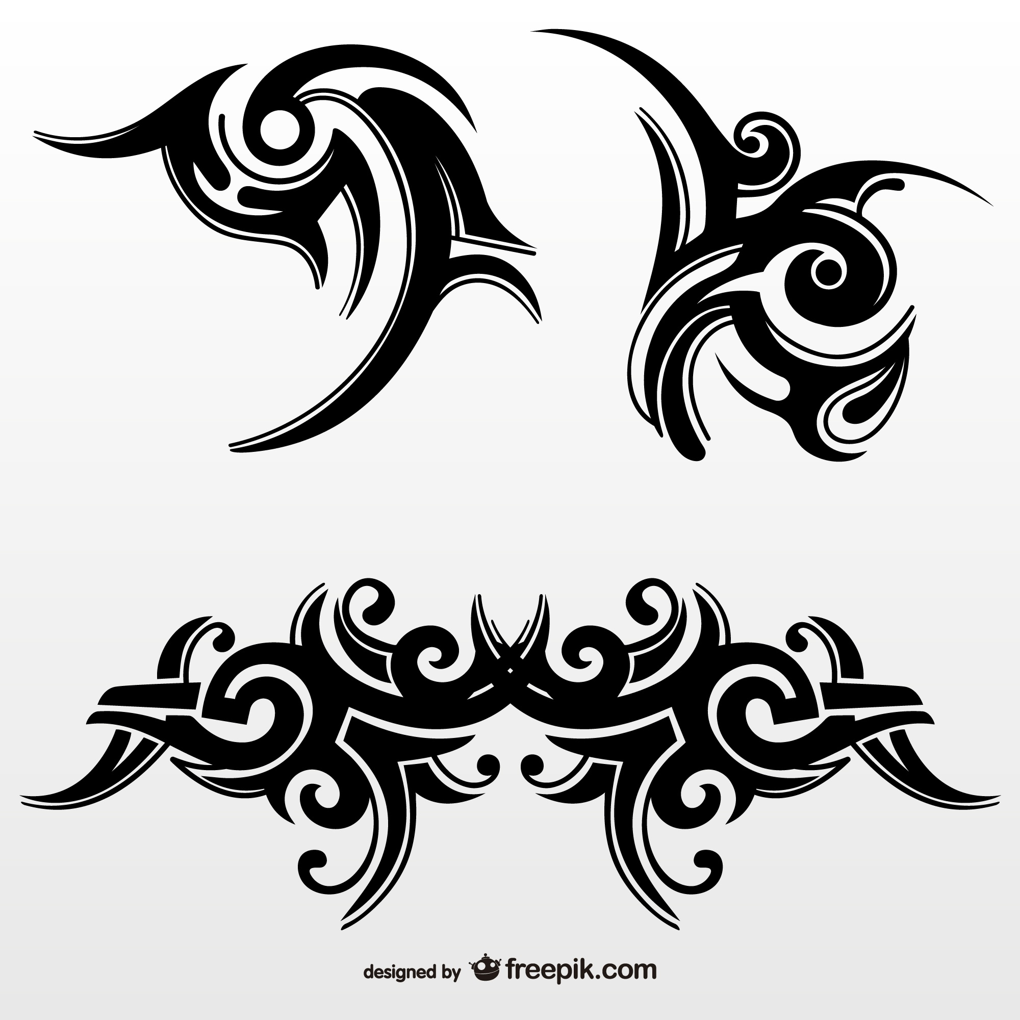 Set of tribal abstract tattoos