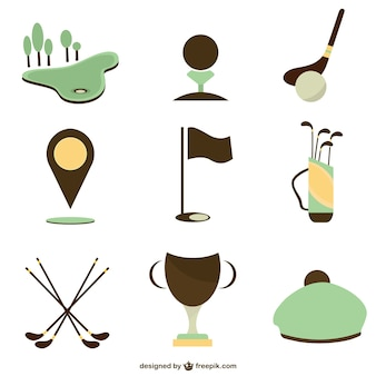 Set of vector golf icons