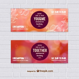 Set of warm colors vector banners
