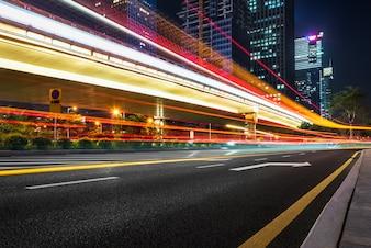 Shanghai city night scene and vehicle tracks, China
