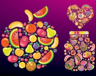Shapes made of fruits vector