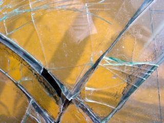 Shattered glass, broken
