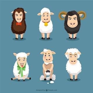 Sheep cartoons set
