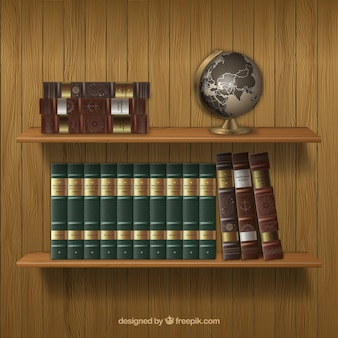 Shelves with antique books