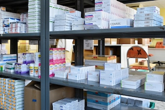 Shelves with medicines in pharmacy