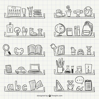Shelves with objects scribbles
