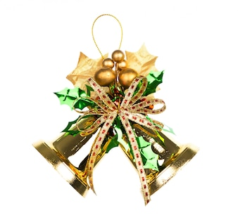 Shiny golden Christmas bells decorated