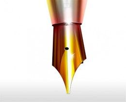 shiny golden fountain pen icon psd
