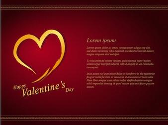 Shiny Golden Maroon Valentines Day Invitation