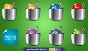 Shiny metal adobe graphic icons vector set