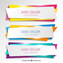 Shiny origami banners