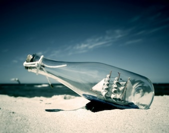 Ship in a bottle on the sand