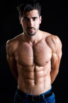 Shirtless male model at studio shot