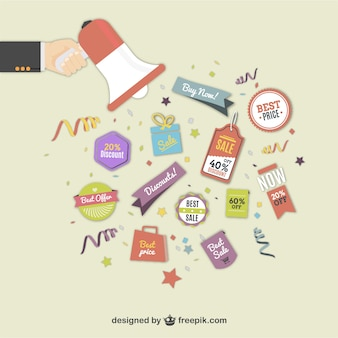 Shopping and sales discount labels