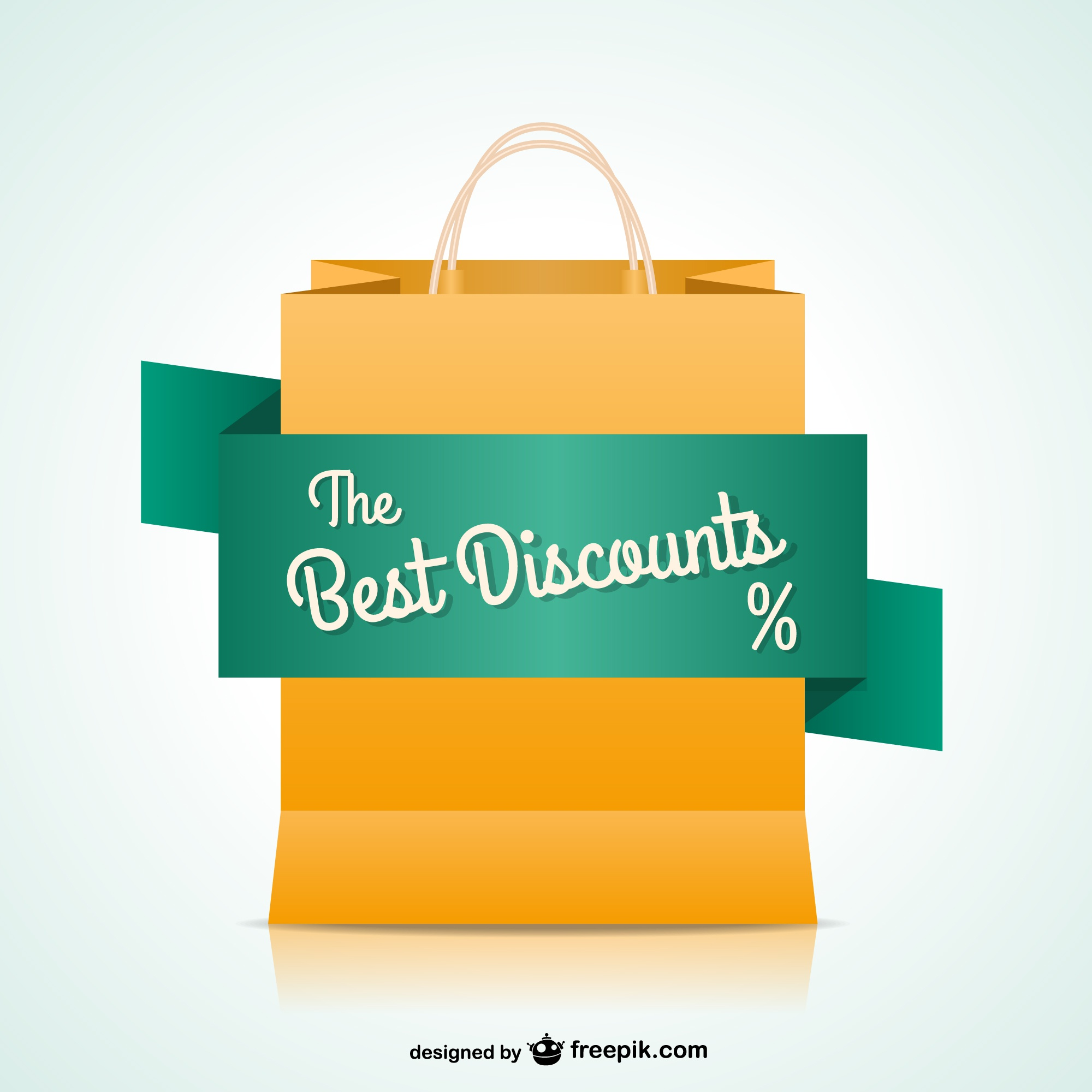 Shopping bag with discount banner