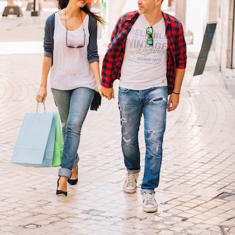 Shopping concept with close up view of couple