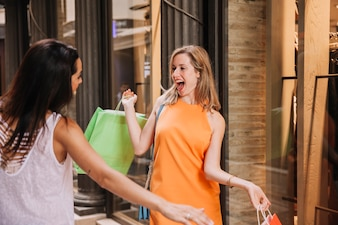 Shopping concept with happy women