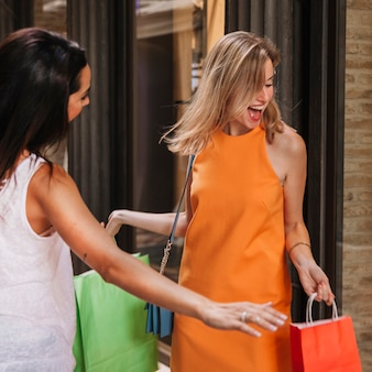 Shopping concept with screaming women