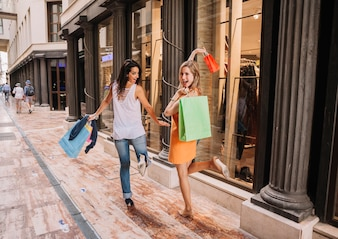 Shopping concept with stylish women