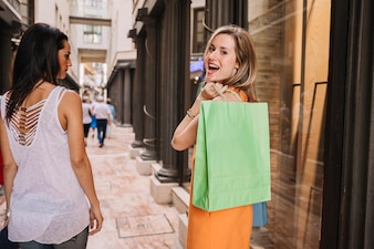 Shopping concept with women walking
