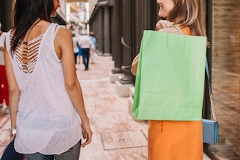 Shopping concept with young women