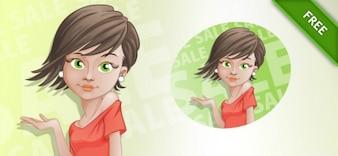 Shopping girl short-hair cartoon vector