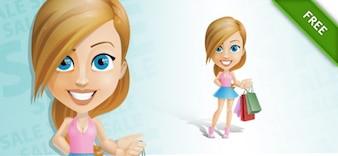 Shopping girl with bags cartoon vector
